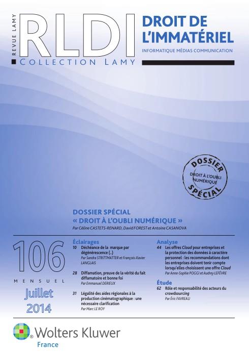 Revue Lamy Droit de l'immatériel 106