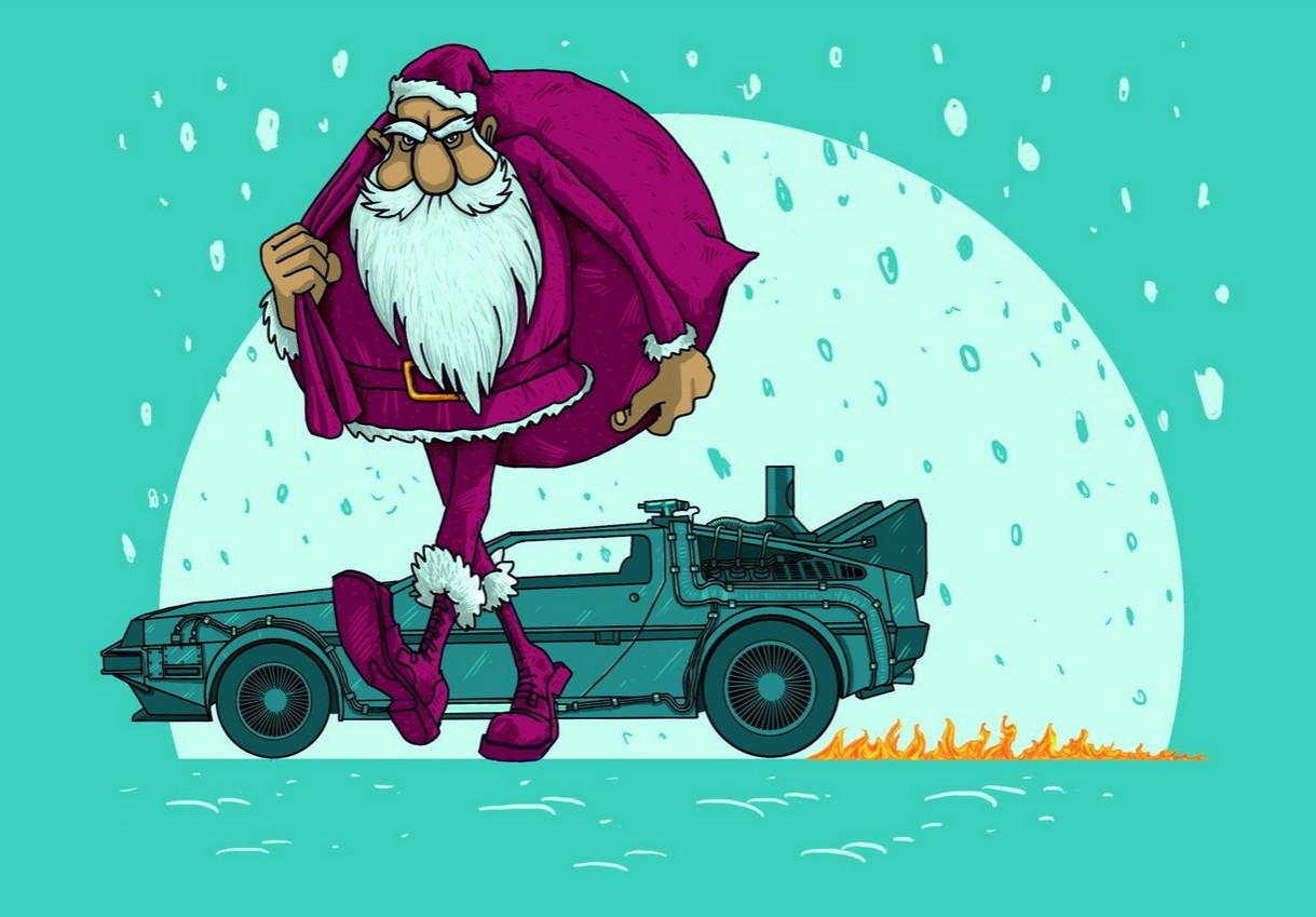 "Santa travels on a time machine, the one taken from the crazy professor from the film ""Back To The Future"" (by Russian creator Oliverclub)."