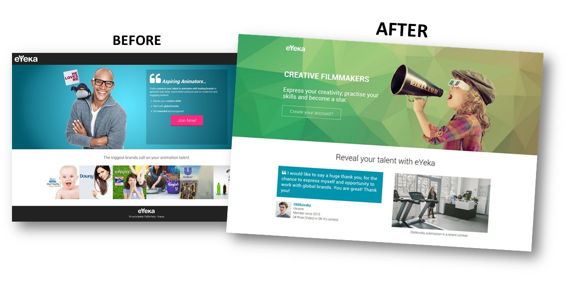 eYeka Creative Landing Page BEFORE and AFTER