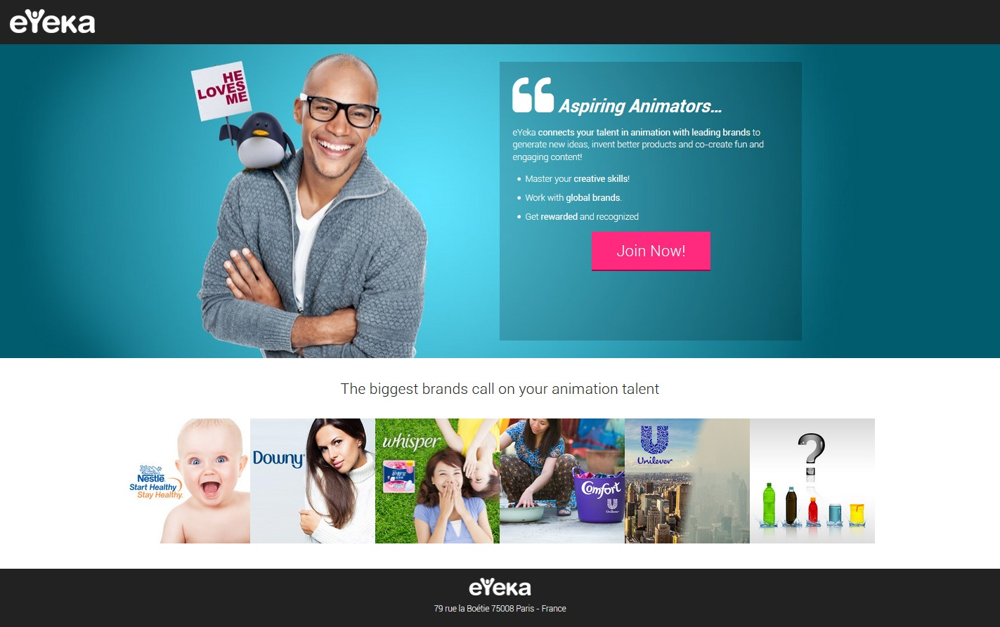 eYeka Creative Landing Page Before