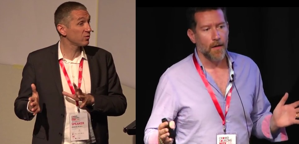"François Pétavy (CEO) and Joël Céré (Insights & Innovation Director) presenting trends identified in ""The State of Crowdsourcing in 2015"""